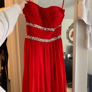 Red formal dress with bedazzle